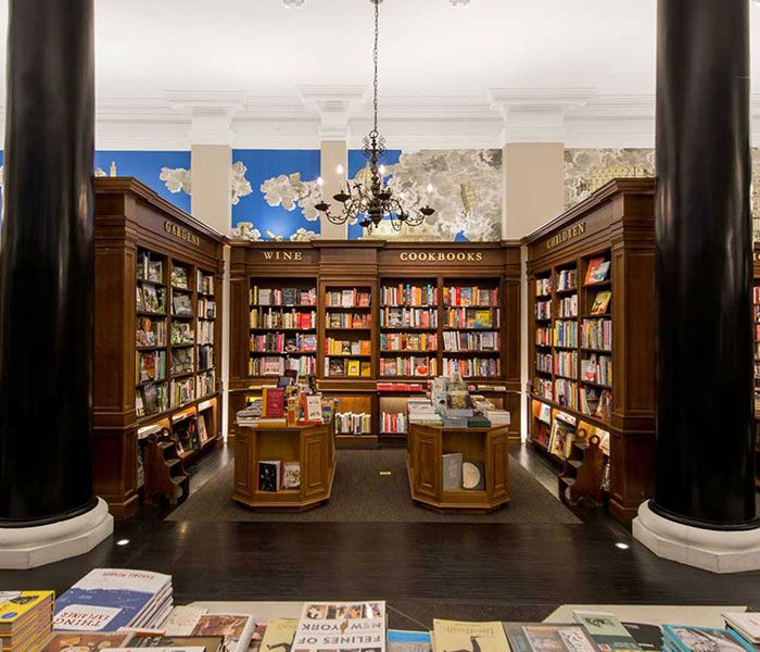 J Suss Industries custom wood shelving for the Rizzoli Bookstore NYC