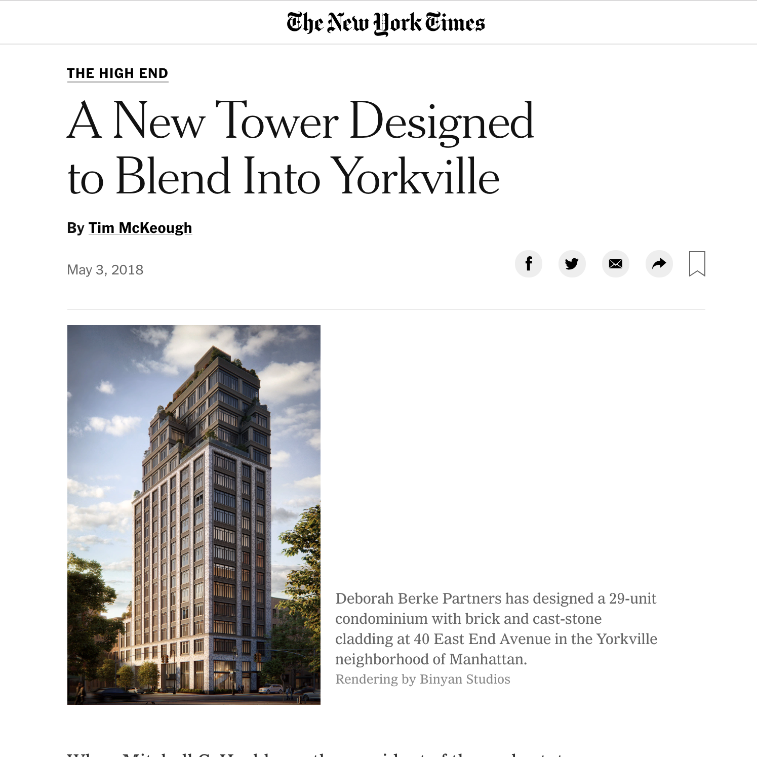40 East End Avenue in New York Times