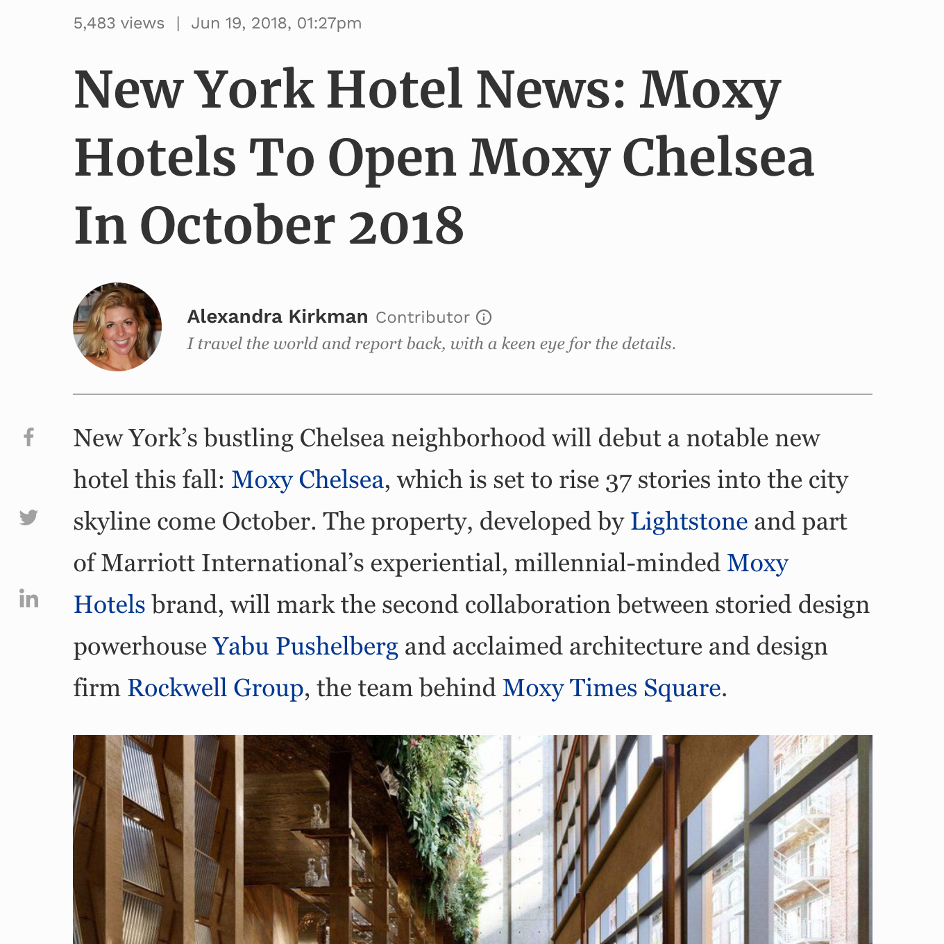 Moxy Chelsea article in Forbes